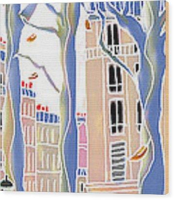 Place Emile Goudeau Wood Print by Hisayo Ohta