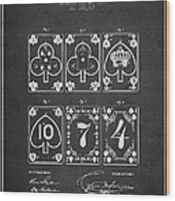 Playing Cards  Patent Drawing From 1877 - Dark Wood Print by Aged Pixel