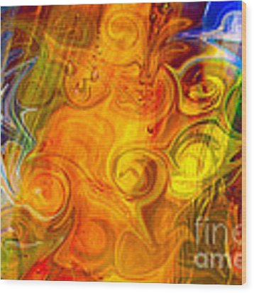 Playing With Bubbles Textured Abstract Artwork By Omaste Witkows Wood Print by Omaste Witkowski