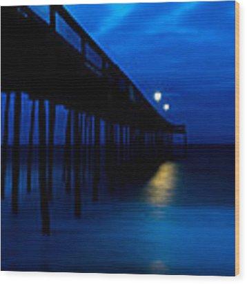 Predawn Blue Beneath Pier Wood Print by Gavin Baker