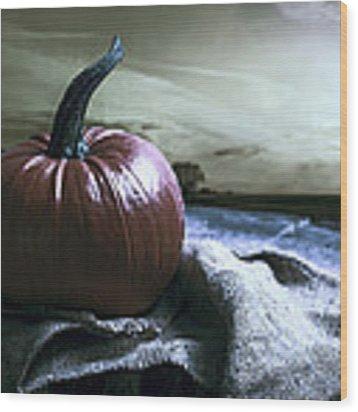 Pumpkin At Sunset Wood Print