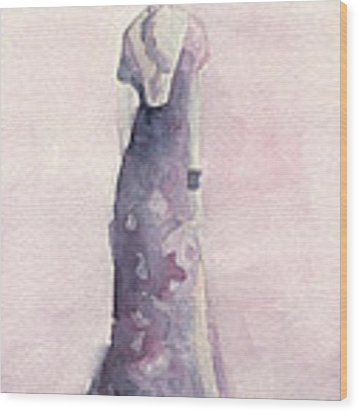 Purple And Pink Evening Dress Watecolor Fashion Illustration Wood Print by Beverly Brown