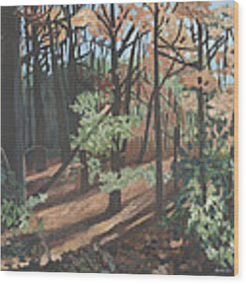 Quiet Walk Wood Print by Jane Croteau