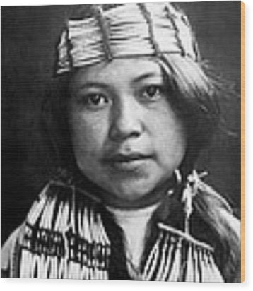 Quinault Indian Girl Circa 1913 Wood Print by Aged Pixel