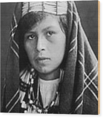 Quinault Indian Woman Circa 1913 Wood Print by Aged Pixel