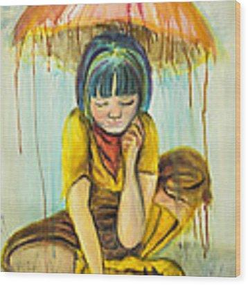 Rain Day  Wood Print by Angelique Bowman