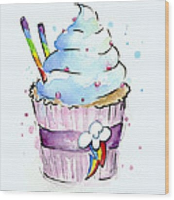 Rainbow-dash-themed Cupcake Wood Print