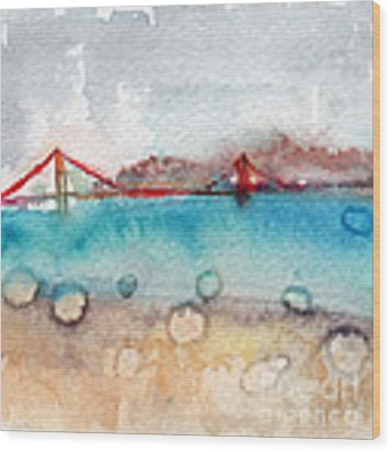Rainy Day In San Francisco  Wood Print by Linda Woods