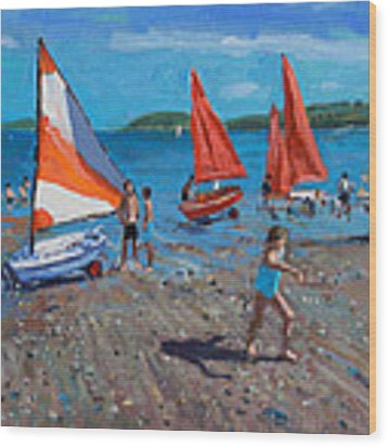 Red And White Sails Wood Print by Andrew Macara