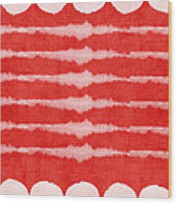 Red And White Shibori Design Wood Print