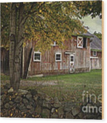 Connecticut Red Barn Wood Print by Expressive Landscapes Fine Art Photography by Thom