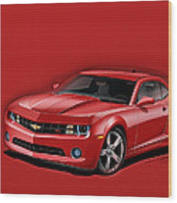 Red Camaro Wood Print