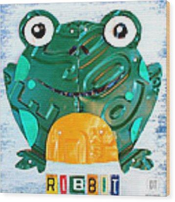 Ribbit The Frog License Plate Art Wood Print