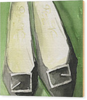 Roger Vivier Black Buckle Shoes Fashion Illustration Art Print Wood Print by Beverly Brown