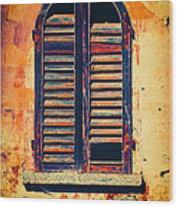 Rotten Window With Moody Wall Wood Print by Silvia Ganora