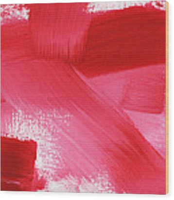Rouge 2- Horizontal Abstract Painting Wood Print by Linda Woods