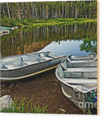 Row Boats Lining A Lake In Mammoth Lakes California Wood Print