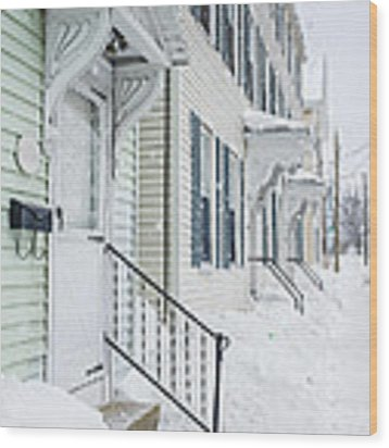 Row Houses On A Snowy Day Wood Print by Edward Fielding