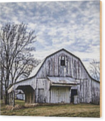 Rustic White Barn Wood Print by Cricket Hackmann
