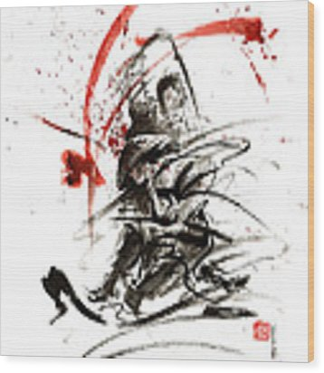 Samurai Sword Black White Red Strokes Bushido Katana Martial Arts Sumi-e Original Fight Ink Painting Wood Print