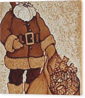 Santa Claus Bag Wood Print by Georgeta  Blanaru