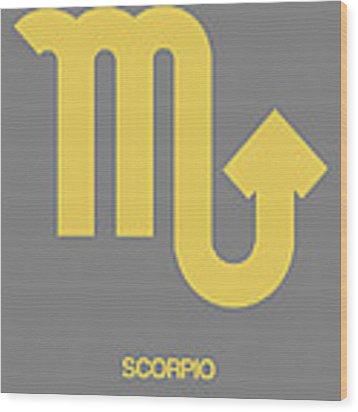 Scorpio Zodiac Sign Yellow On Grey Wood Print