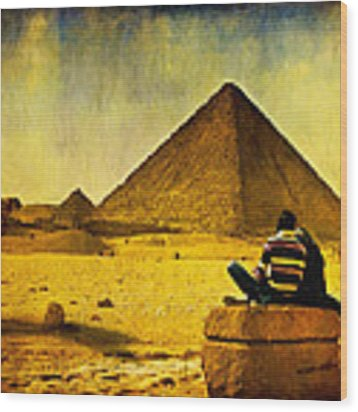 See The Pyramids - Egyptian Adventure Wood Print by Mark E Tisdale
