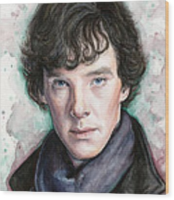 Sherlock Holmes Portrait Benedict Cumberbatch Wood Print