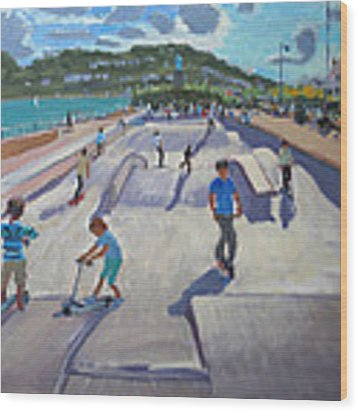Skateboaders  Teignmouth Wood Print