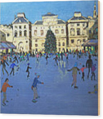 Skaters  Somerset House Wood Print by Andrew Macara