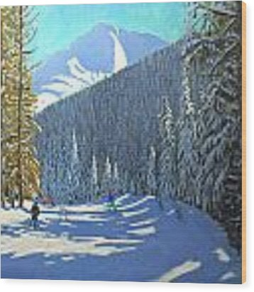 Skiing  Beauregard La Clusaz Wood Print