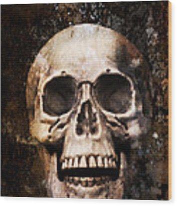 Skull In Earth Wood Print
