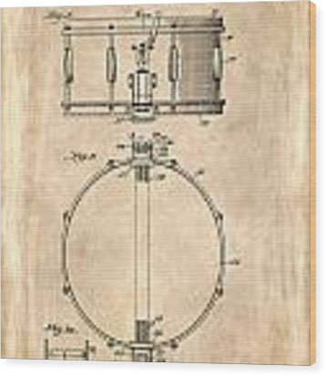 Snare Drum Patent 1939 Wood Print by Mark Rogan