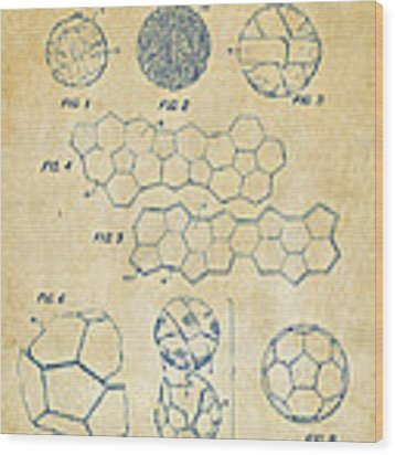 Soccer Ball Construction Artwork - Vintage Wood Print