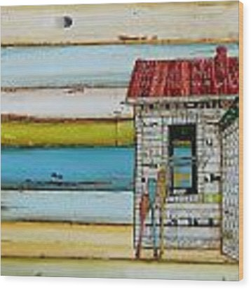 Southern Maine Beach Shack Wood Print