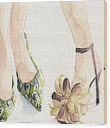 Spring Shoes Watercolor Fashion Illustration Art Print Wood Print by Beverly Brown