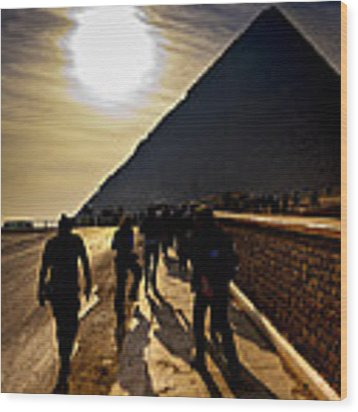 Standing Before The Great Pyramid In Egypt Wood Print by Mark E Tisdale