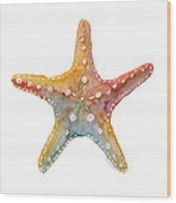 Starfish Wood Print by Amy Kirkpatrick