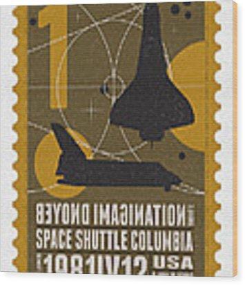 Starschips 01-poststamp - Spaceshuttle Wood Print