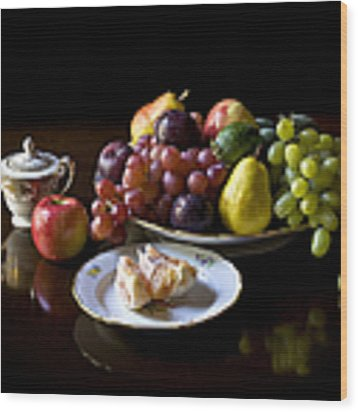 Still Life With Fruit Wood Print by Endre Balogh