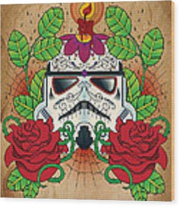 Storm Trooper Sugar Skull Wood Print