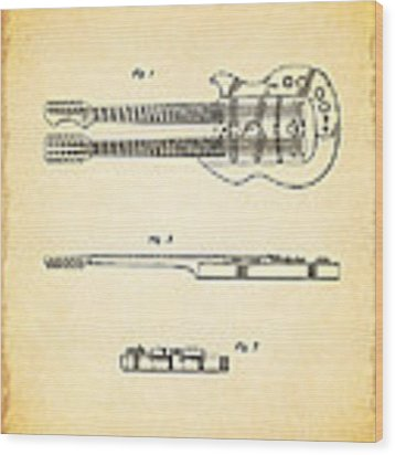 Stratosphere Double Neck Guitar Patent Wood Print by Mark Rogan