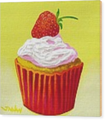 Strawberry Cupcake Wood Print