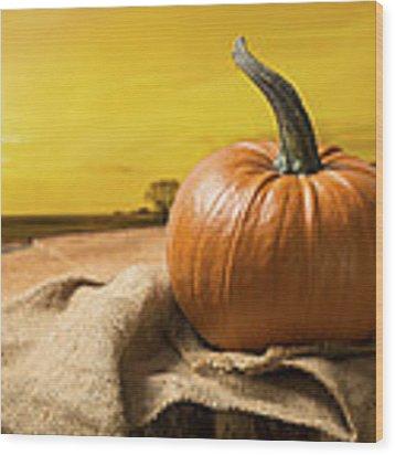 Sunset Pumpkin Wood Print