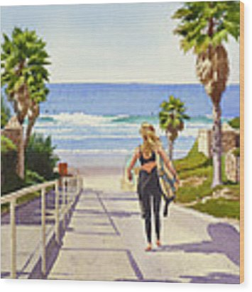 Surfer Girl At Fletcher Cove Wood Print by Mary Helmreich