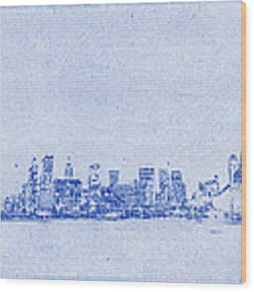 Sydney Skyline Blueprint Wood Print