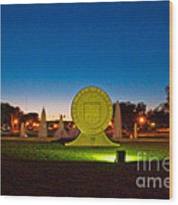 Texas Tech Seal At Night Wood Print by Mae Wertz