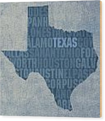 Texas Word Art State Map On Canvas Wood Print