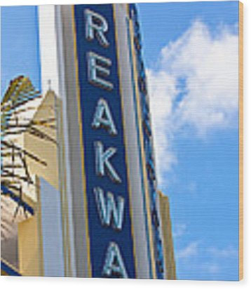 The Breakwater Neon Sign Wood Print by Ed Gleichman