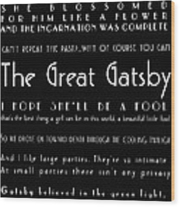 The Great Gatsby Quotes Wood Print